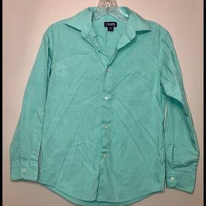 Chaps Green Button Down Shirt Boys Size Med 10/12